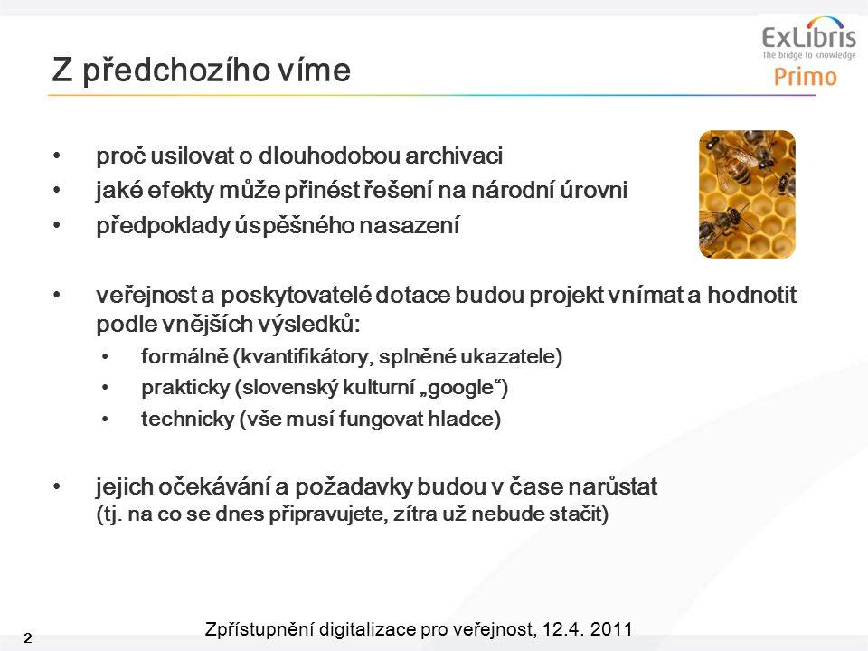 2 Zpřístupnění digitalizace pro veřejnost, 12.4. 2011 Z předchozího víme proč usilovat o dlouhodobou archivaci jaké efekty může přinést řešení na náro