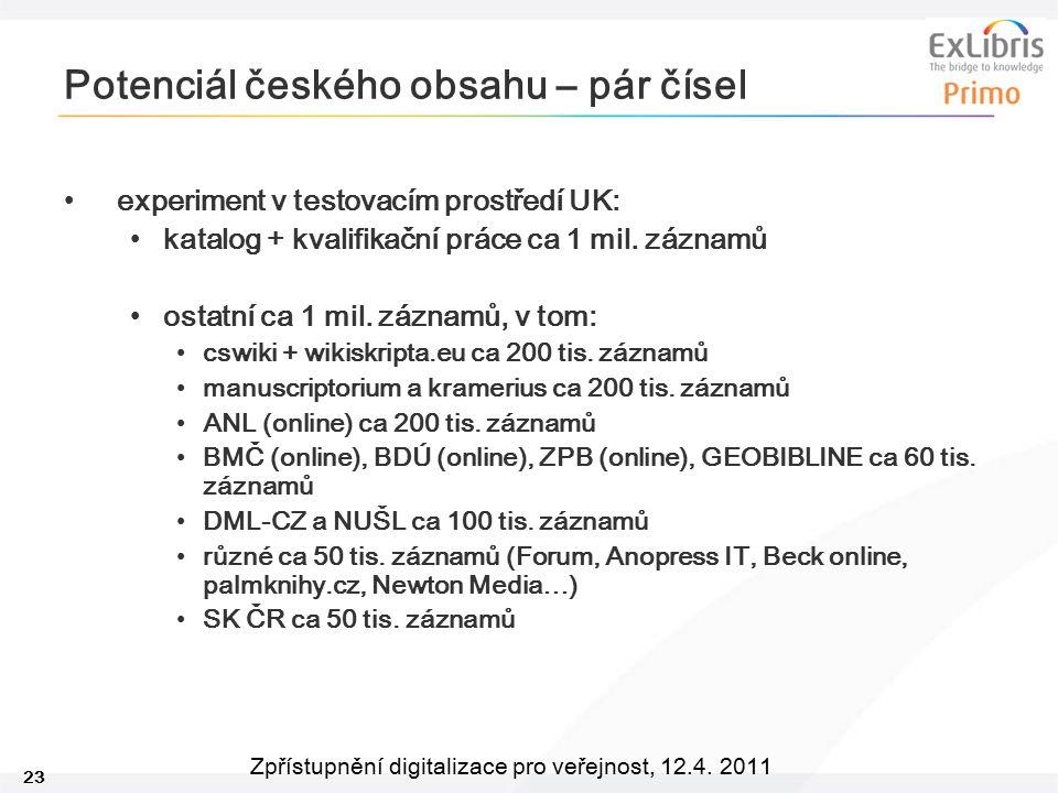 23 Zpřístupnění digitalizace pro veřejnost, 12.4. 2011 Potenciál českého obsahu – pár čísel experiment v testovacím prostředí UK: katalog + kvalifikač