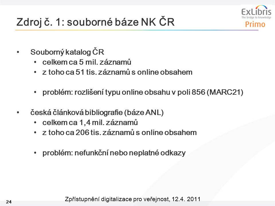 24 Zpřístupnění digitalizace pro veřejnost, 12.4. 2011 Zdroj č. 1: souborné báze NK ČR Souborný katalog ČR celkem ca 5 mil. záznamů z toho ca 51 tis.