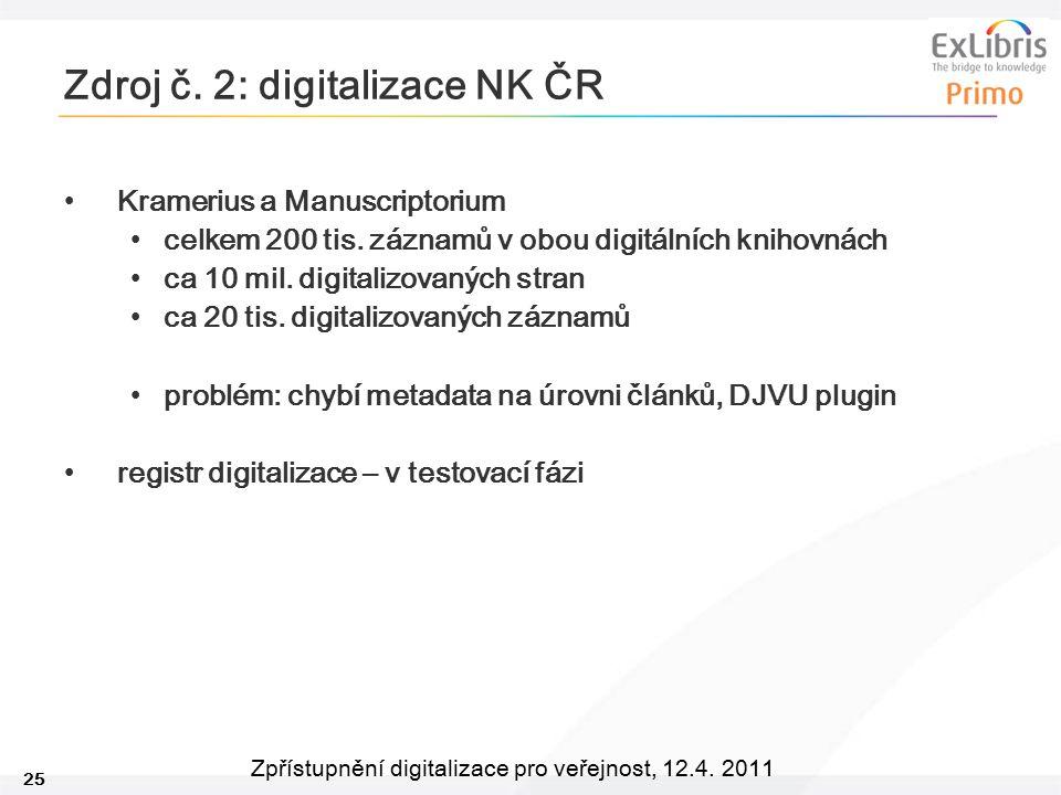 25 Zpřístupnění digitalizace pro veřejnost, 12.4. 2011 Zdroj č. 2: digitalizace NK ČR Kramerius a Manuscriptorium celkem 200 tis. záznamů v obou digit