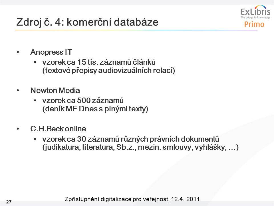 27 Zpřístupnění digitalizace pro veřejnost, 12.4. 2011 Zdroj č. 4: komerční databáze Anopress IT vzorek ca 15 tis. záznamů článků (textové přepisy aud