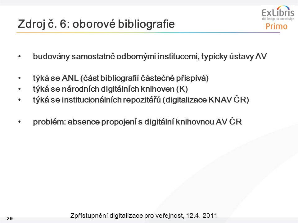 29 Zpřístupnění digitalizace pro veřejnost, 12.4. 2011 Zdroj č. 6: oborové bibliografie budovány samostatně odbornými institucemi, typicky ústavy AV t