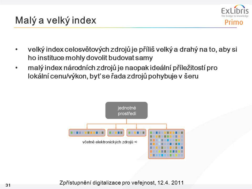 31 Zpřístupnění digitalizace pro veřejnost, 12.4. 2011 Malý a velký index velký index celosvětových zdrojů je příliš velký a drahý na to, aby si ho in