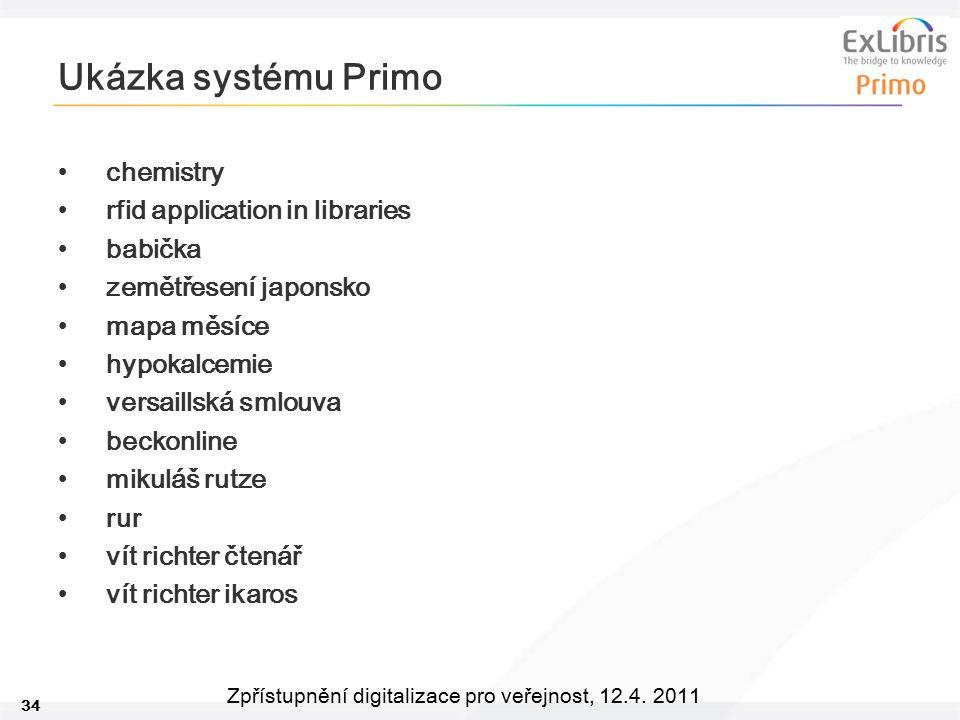 34 Zpřístupnění digitalizace pro veřejnost, 12.4. 2011 Ukázka systému Primo chemistry rfid application in libraries babička zemětřesení japonsko mapa