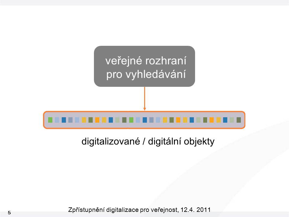 5 Zpřístupnění digitalizace pro veřejnost, 12.4. 2011 veřejné rozhraní pro vyhledávání digitalizované / digitální objekty