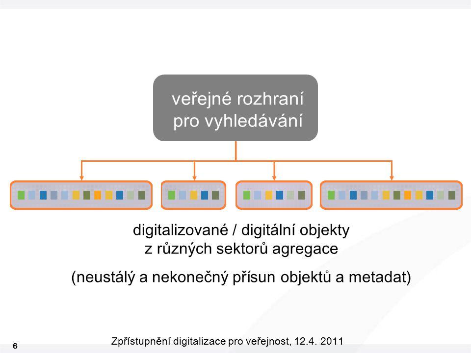 6 Zpřístupnění digitalizace pro veřejnost, 12.4. 2011 veřejné rozhraní pro vyhledávání digitalizované / digitální objekty z různých sektorů agregace (