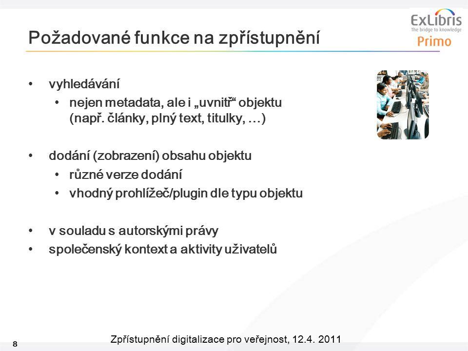"""8 Zpřístupnění digitalizace pro veřejnost, 12.4. 2011 Požadované funkce na zpřístupnění vyhledávání nejen metadata, ale i """"uvnitř"""" objektu (např. člán"""