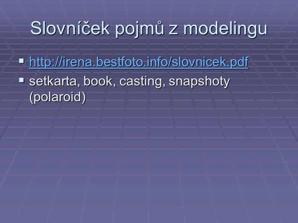 Slovníček pojmů z modelingu  http://irena.bestfoto.info/slovnicek.pdf http://irena.bestfoto.info/slovnicek.pdf  setkarta, book, casting, snapshoty (
