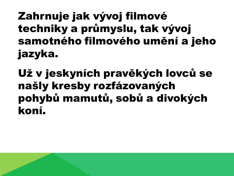 Zahrnuje jak vývoj filmové techniky a průmyslu, tak vývoj samotného filmového umění a jeho jazyka.