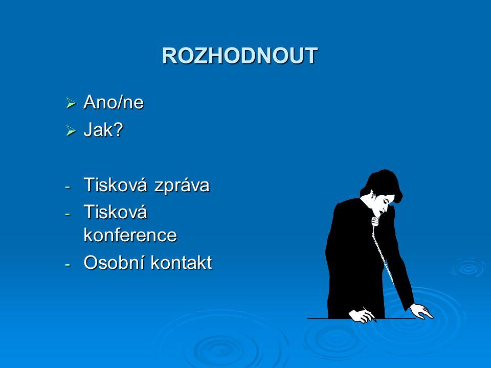 ROZHODNOUT  Ano/ne  Jak - Tisková zpráva - Tisková konference - Osobní kontakt