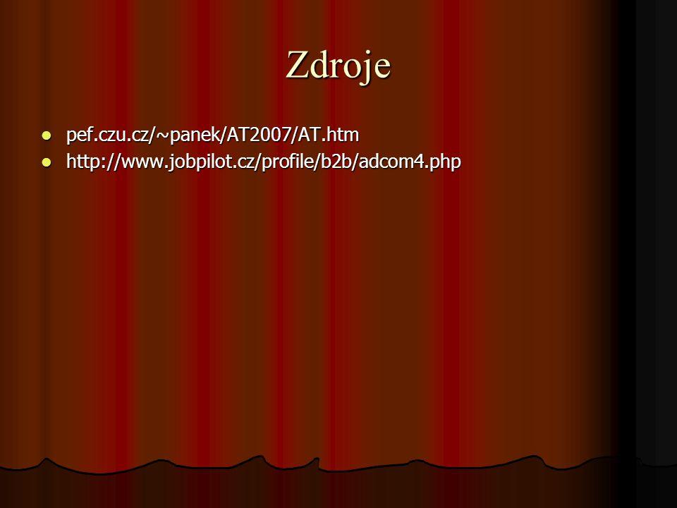 Zdroje pef.czu.cz/~panek/AT2007/AT.htm pef.czu.cz/~panek/AT2007/AT.htm http://www.jobpilot.cz/profile/b2b/adcom4.php http://www.jobpilot.cz/profile/b2b/adcom4.php