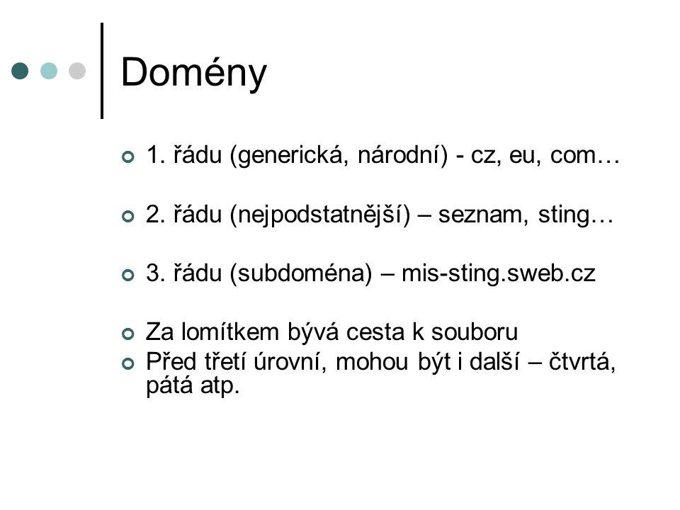 Domény 1. řádu (generická, národní) - cz, eu, com… 2.