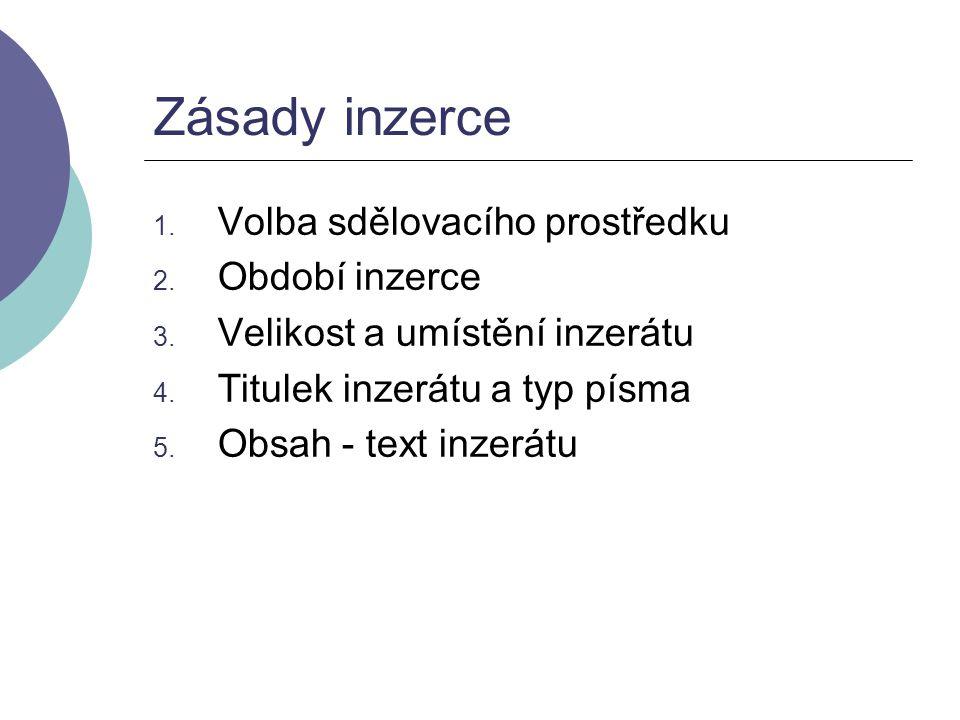 1.Volba sdělovacího prostředku 2. Období inzerce 3.