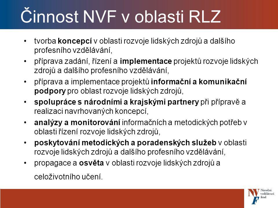 Činnost NVF v oblasti RLZ tvorba koncepcí v oblasti rozvoje lidských zdrojů a dalšího profesního vzdělávání, příprava zadání, řízení a implementace projektů rozvoje lidských zdrojů a dalšího profesního vzdělávání, příprava a implementace projektů informační a komunikační podpory pro oblast rozvoje lidských zdrojů, spolupráce s národními a krajskými partnery při přípravě a realizaci navrhovaných koncepcí, analýzy a monitorování informačních a metodických potřeb v oblasti řízení rozvoje lidských zdrojů, poskytování metodických a poradenských služeb v oblasti rozvoje lidských zdrojů a dalšího profesního vzdělávání, propagace a osvěta v oblasti rozvoje lidských zdrojů a celoživotního učení.