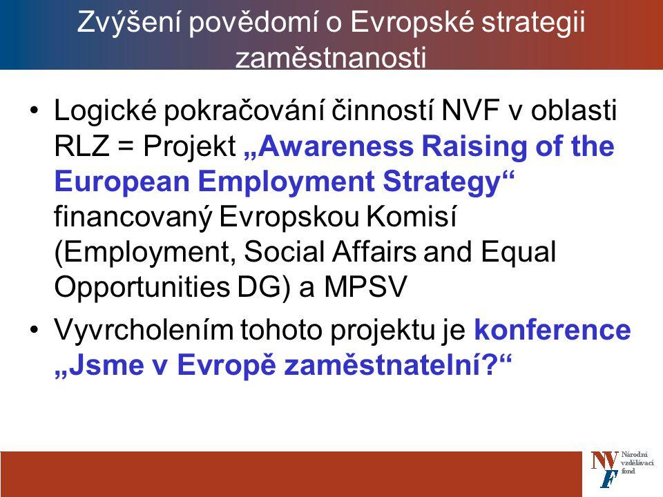 """Zvýšení povědomí o Evropské strategii zaměstnanosti Logické pokračování činností NVF v oblasti RLZ = Projekt """"Awareness Raising of the European Employment Strategy financovaný Evropskou Komisí (Employment, Social Affairs and Equal Opportunities DG) a MPSV Vyvrcholením tohoto projektu je konference """"Jsme v Evropě zaměstnatelní?"""