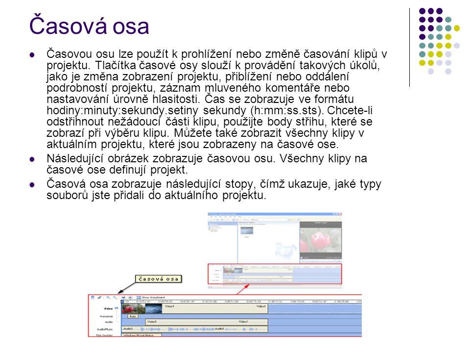 Časová osa Časovou osu lze použít k prohlížení nebo změně časování klipů v projektu. Tlačítka časové osy slouží k provádění takových úkolů, jako je zm