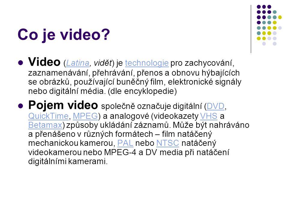 Co je video? Video (Latina, vidět) je technologie pro zachycování, zaznamenávání, přehrávání, přenos a obnovu hýbajících se obrázků, používající buněč