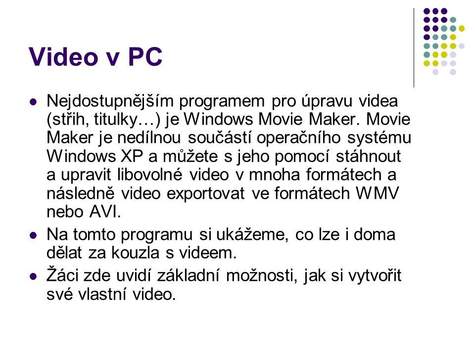 Video v PC Nejdostupnějším programem pro úpravu videa (střih, titulky…) je Windows Movie Maker.
