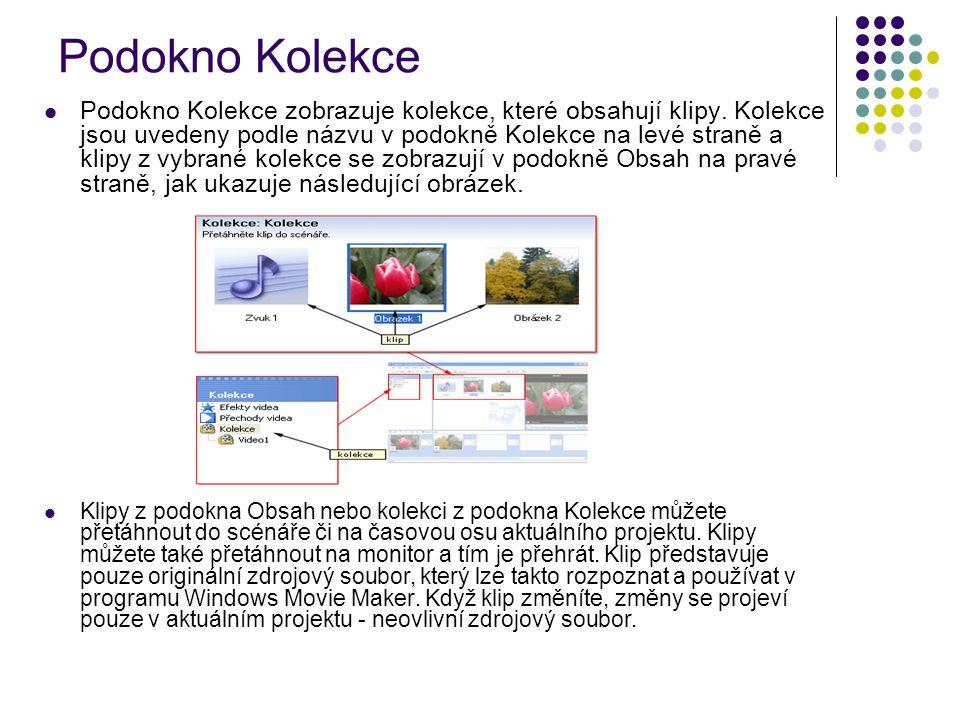 Podokno Kolekce Podokno Kolekce zobrazuje kolekce, které obsahují klipy. Kolekce jsou uvedeny podle názvu v podokně Kolekce na levé straně a klipy z v
