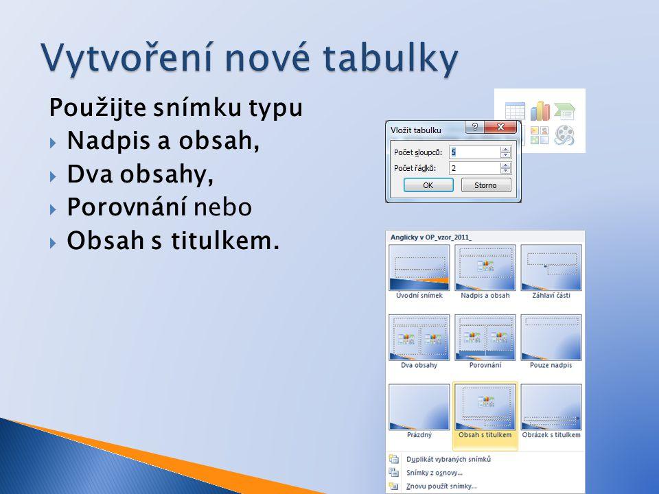 Použijte snímku typu  Nadpis a obsah,  Dva obsahy,  Porovnání nebo  Obsah s titulkem.