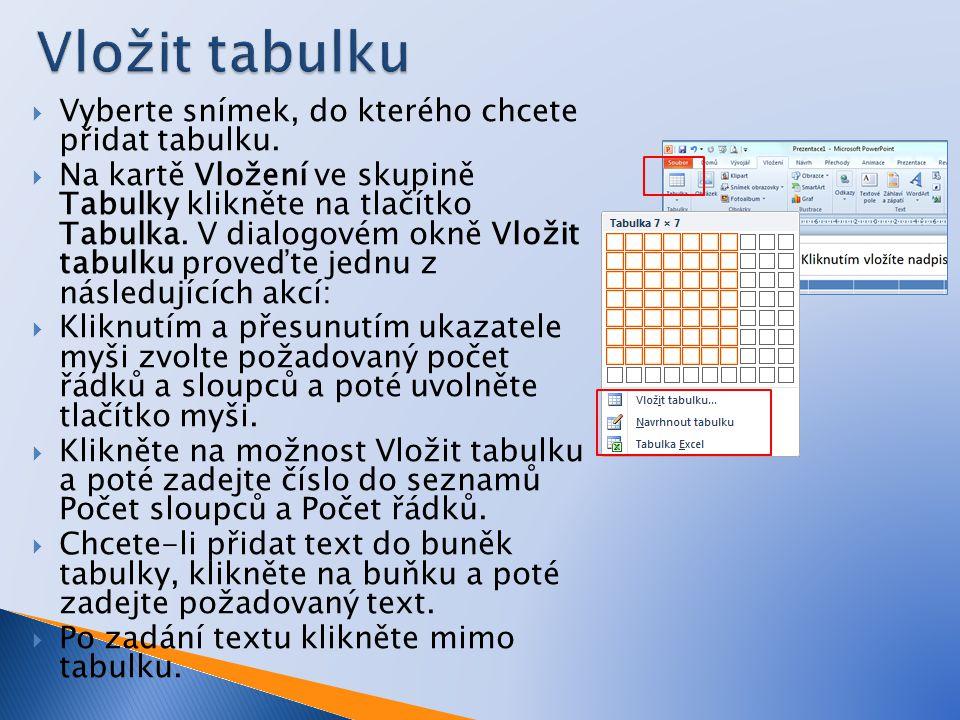  Vyberte snímek, do kterého chcete přidat tabulku.  Na kartě Vložení ve skupině Tabulky klikněte na tlačítko Tabulka. V dialogovém okně Vložit tabul