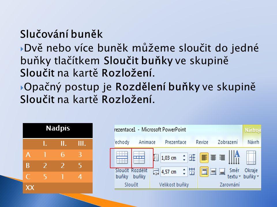 Formát textu v tabulce  Formát písma v buňkách tabulky se provádí pomocí tlačítek ve skupině Písmo na kartě Domů.
