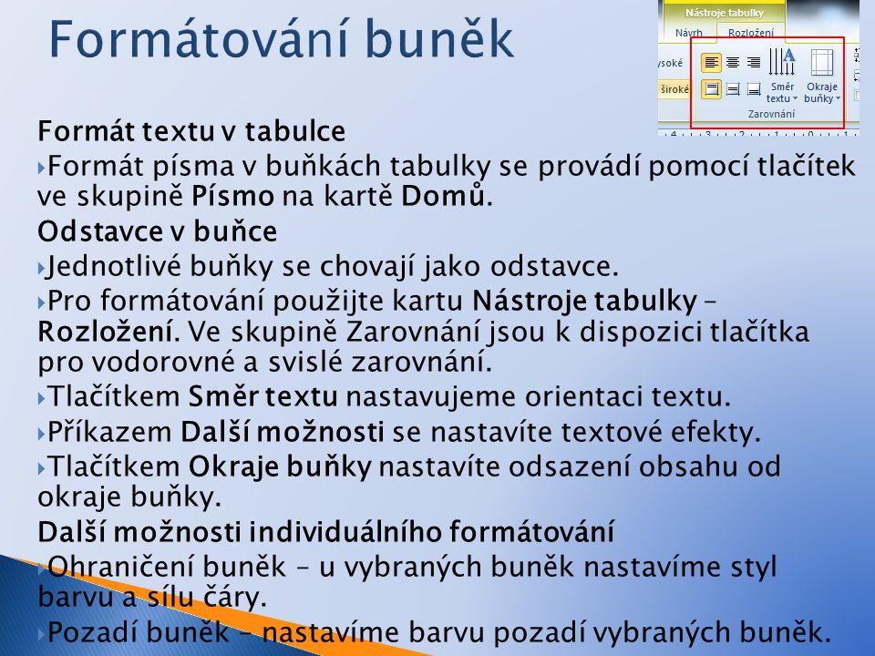 Formát textu v tabulce  Formát písma v buňkách tabulky se provádí pomocí tlačítek ve skupině Písmo na kartě Domů. Odstavce v buňce  Jednotlivé buňky