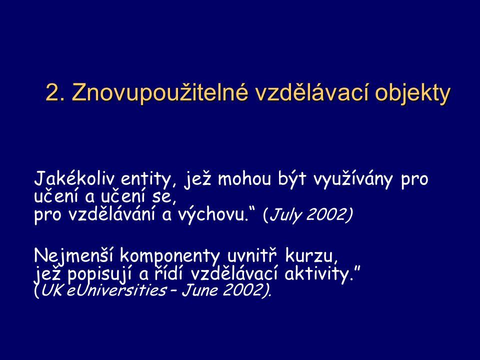 """2. Znovupoužitelné vzdělávací objekty Jakékoliv entity, jež mohou být využívány pro učení a učení se, pro vzdělávání a výchovu."""" (July 2002) Nejmenší"""
