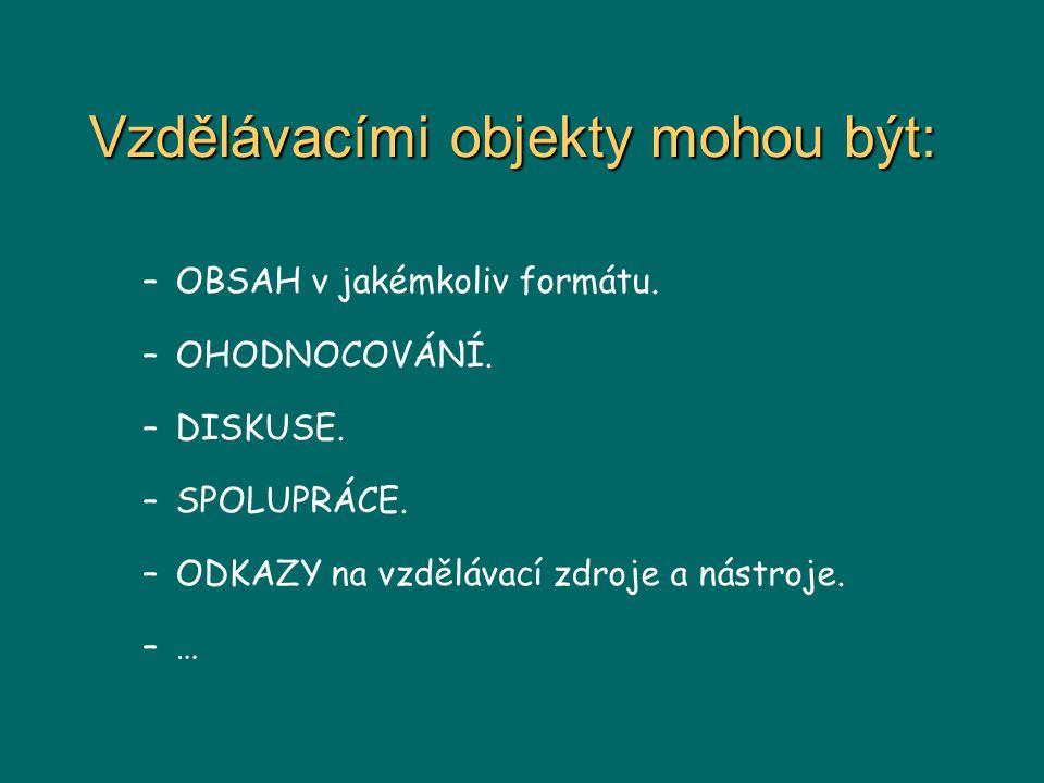 Vzdělávacími objekty mohou být: –OBSAH v jakémkoliv formátu.