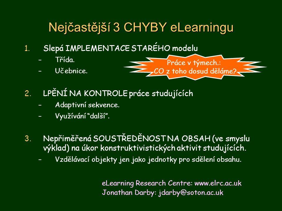 Nejčastější 3 CHYBY eLearningu 1.Slepá IMPLEMENTACE STARÉHO modelu –Třída.