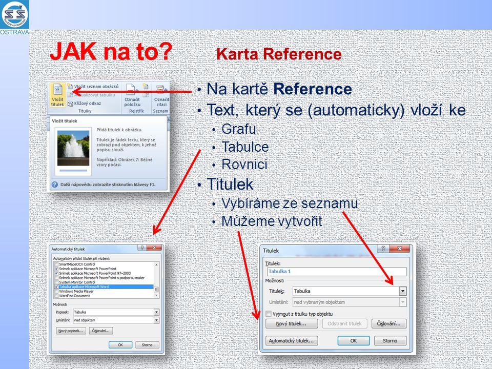 Na kartě Reference Text, který se (automaticky) vloží ke Grafu Tabulce Rovnici Titulek Vybíráme ze seznamu Můžeme vytvořit Karta Reference JAK na to