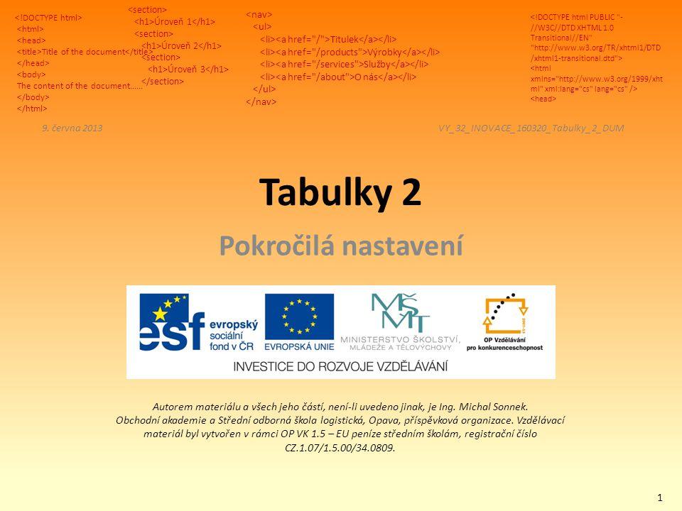 Title of the document The content of the document...... Úroveň 1 Úroveň 2 Úroveň 3 Titulek Výrobky Služby O nás Autorem materiálu a všech jeho částí,