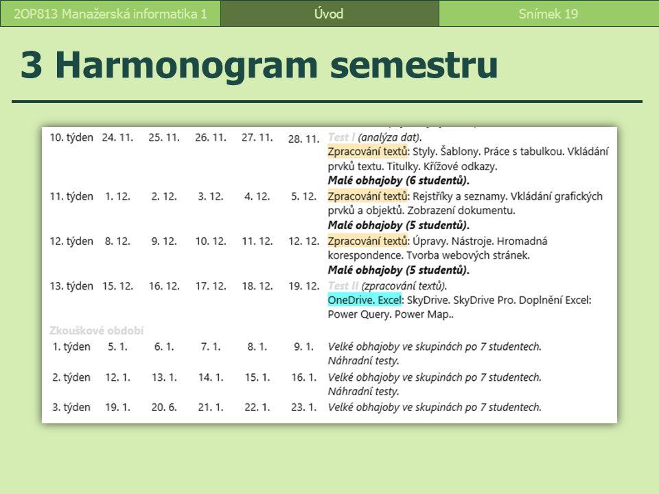 ÚvodSnímek 192OP813 Manažerská informatika 1 3 Harmonogram semestru