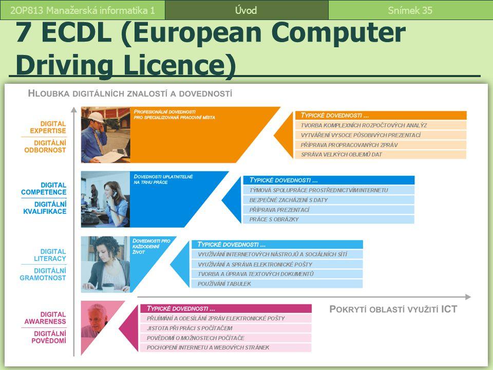 7 ECDL (European Computer Driving Licence) ÚvodSnímek 352OP813 Manažerská informatika 1
