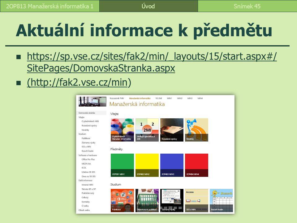 ÚvodSnímek 452OP813 Manažerská informatika 1 Aktuální informace k předmětu https://sp.vse.cz/sites/fak2/min/_layouts/15/start.aspx#/ SitePages/Domovsk