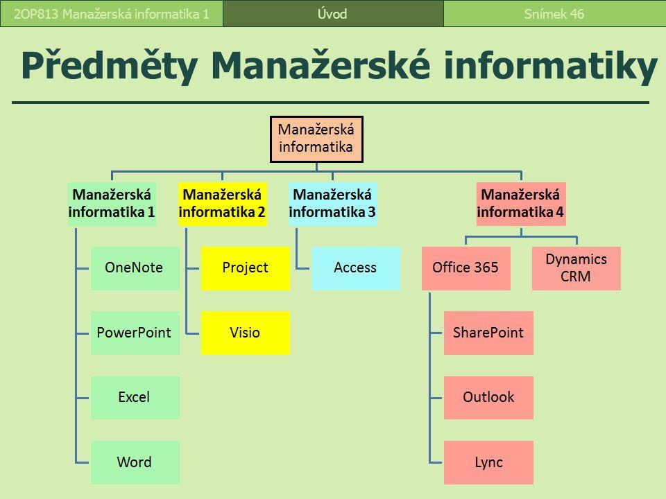 Předměty Manažerské informatiky ÚvodSnímek 462OP813 Manažerská informatika 1