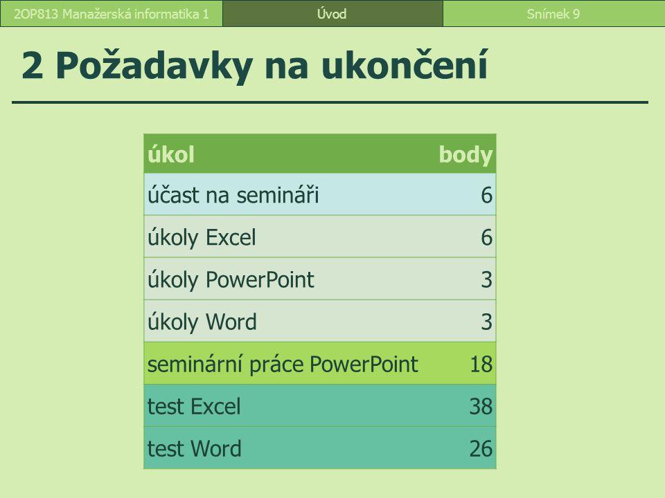 2 Požadavky na ukončení ÚvodSnímek 92OP813 Manažerská informatika 1 úkolbody účast na semináři6 úkoly Excel6 úkoly PowerPoint3 úkoly Word3 seminární p