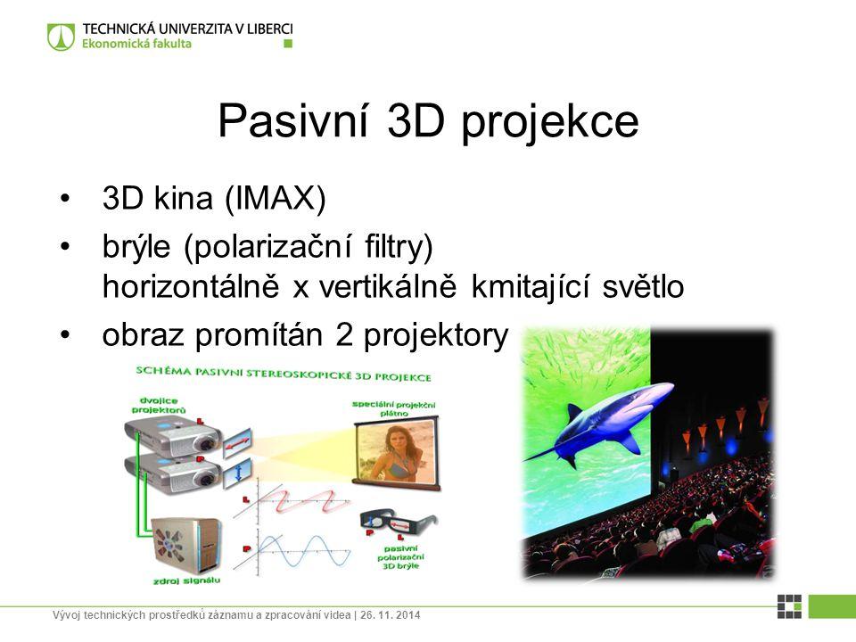 Pasivní 3D projekce 3D kina (IMAX) brýle (polarizační filtry) horizontálně x vertikálně kmitající světlo obraz promítán 2 projektory