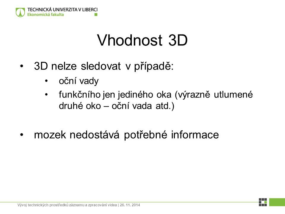 Vhodnost 3D 3D nelze sledovat v případě: oční vady funkčního jen jediného oka (výrazně utlumené druhé oko – oční vada atd.) mozek nedostává potřebné i