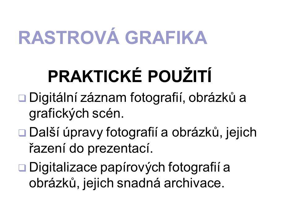 PRAKTICKÉ POUŽITÍ DDigitální záznam fotografií, obrázků a grafických scén.