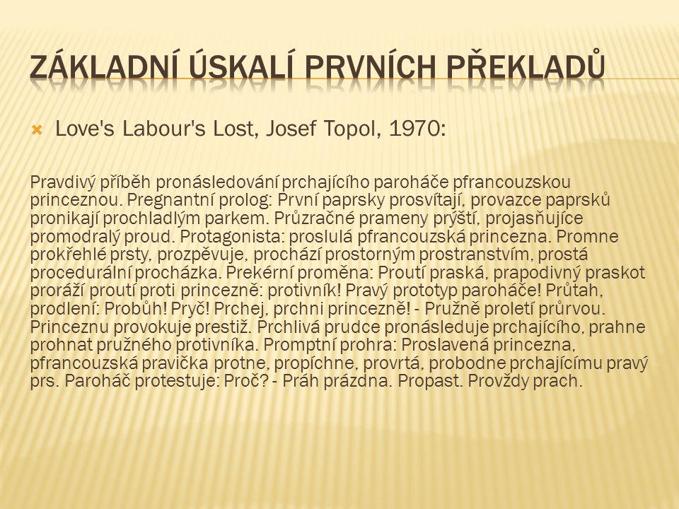  Love s Labour s Lost, Josef Topol, 1970: Pravdivý příběh pronásledování prchajícího paroháče pfrancouzskou princeznou.