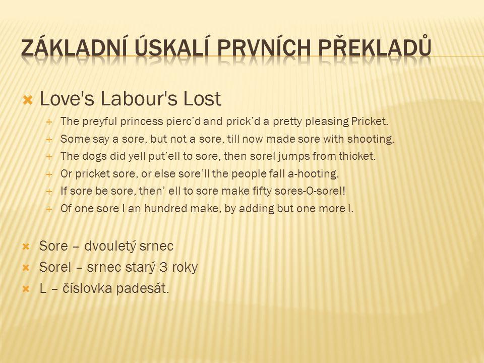  Love s Labour s Lost  The preyful princess pierc'd and prick'd a pretty pleasing Pricket.