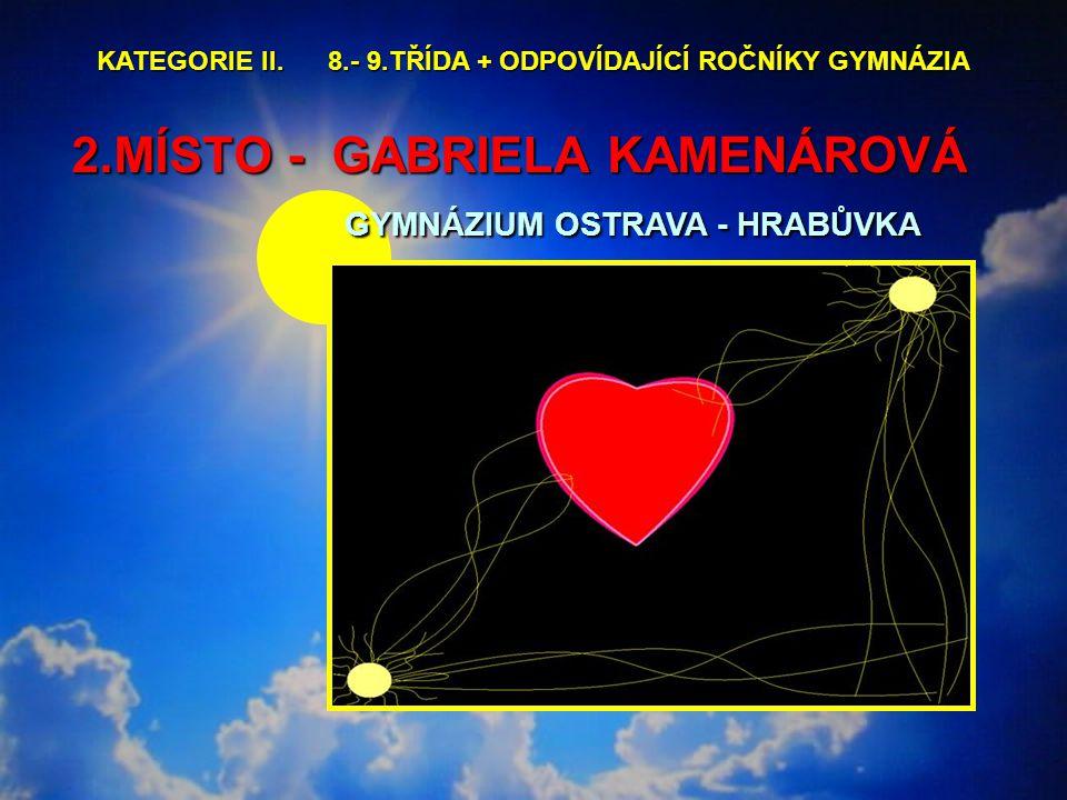 2.MÍSTO - GABRIELA KAMENÁROVÁ GYMNÁZIUM OSTRAVA - HRABŮVKA 2.MÍSTO - GABRIELA KAMENÁROVÁ GYMNÁZIUM OSTRAVA - HRABŮVKA KATEGORIE II.