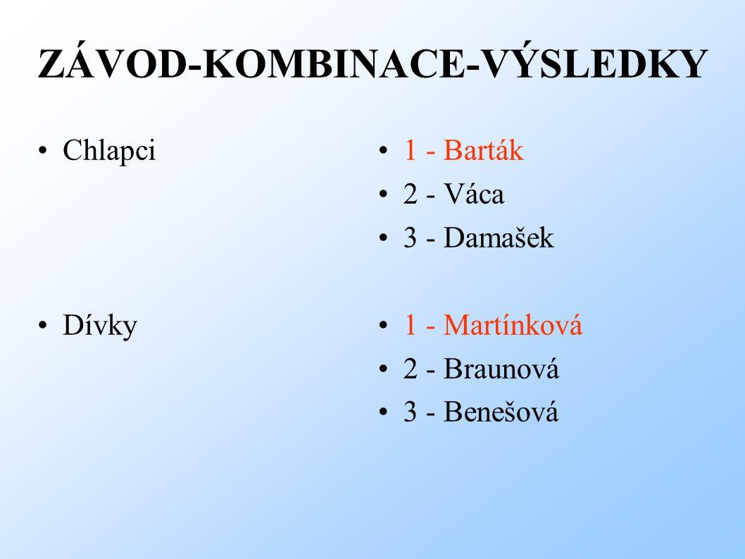 ZÁVOD-KOMBINACE-VÝSLEDKY Chlapci Dívky 1 - Barták 2 - Váca 3 - Damašek 1 - Martínková 2 - Braunová 3 - Benešová