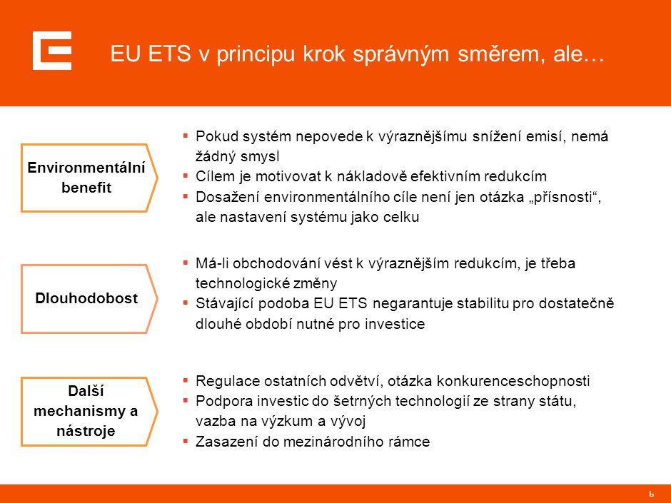 """6 EU ETS v principu krok správným směrem, ale… Environmentální benefit Dlouhodobost Další mechanismy a nástroje  Pokud systém nepovede k výraznějšímu snížení emisí, nemá žádný smysl  Cílem je motivovat k nákladově efektivním redukcím  Dosažení environmentálního cíle není jen otázka """"přísnosti , ale nastavení systému jako celku  Má-li obchodování vést k výraznějším redukcím, je třeba technologické změny  Stávající podoba EU ETS negarantuje stabilitu pro dostatečně dlouhé období nutné pro investice  Regulace ostatních odvětví, otázka konkurenceschopnosti  Podpora investic do šetrných technologií ze strany státu, vazba na výzkum a vývoj  Zasazení do mezinárodního rámce"""