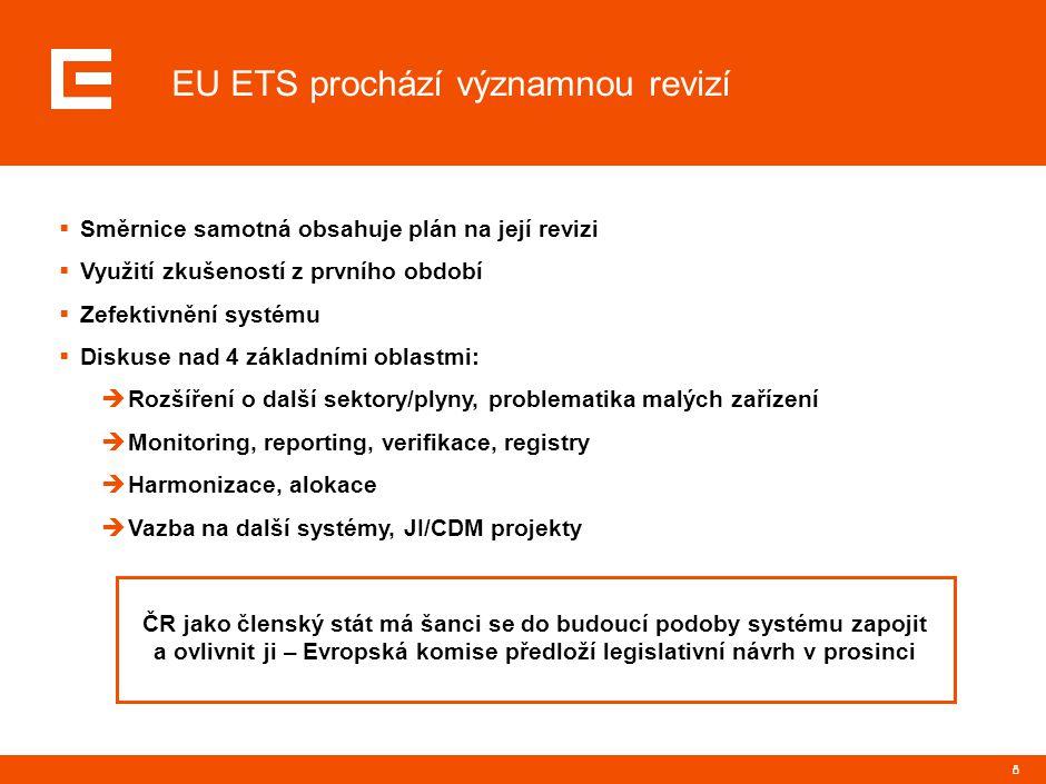 8 EU ETS prochází významnou revizí  Směrnice samotná obsahuje plán na její revizi  Využití zkušeností z prvního období  Zefektivnění systému  Diskuse nad 4 základními oblastmi:  Rozšíření o další sektory/plyny, problematika malých zařízení  Monitoring, reporting, verifikace, registry  Harmonizace, alokace  Vazba na další systémy, JI/CDM projekty ČR jako členský stát má šanci se do budoucí podoby systému zapojit a ovlivnit ji – Evropská komise předloží legislativní návrh v prosinci