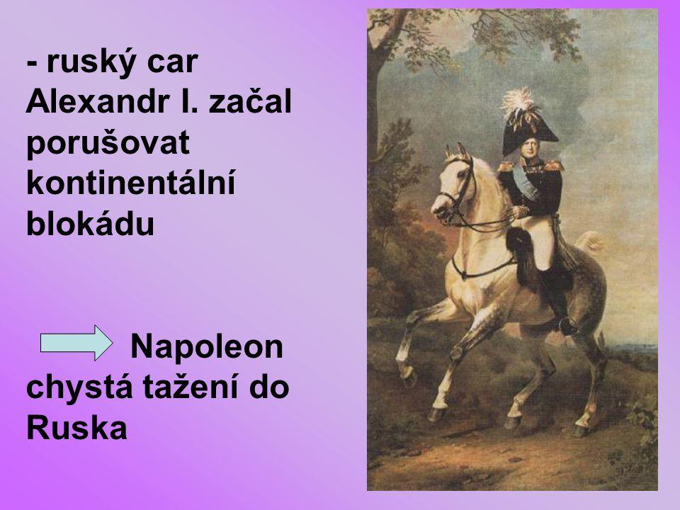 """- armáda vyrazila v létě 1812 a Napoleon se domníval, že přezimuje už v Moskvě KUTUZOV - ruský maršál KUTUZOV postupoval """"taktikou spálené země"""