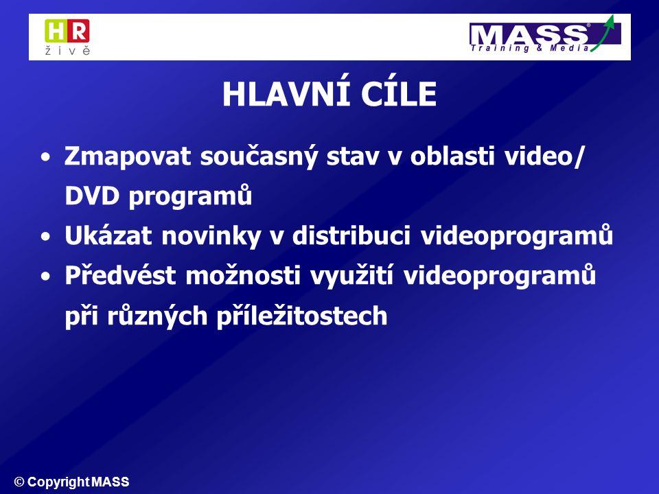 © Copyright MASS HLAVNÍ CÍLE Zmapovat současný stav v oblasti video/ DVD programů Ukázat novinky v distribuci videoprogramů Předvést možnosti využití videoprogramů při různých příležitostech