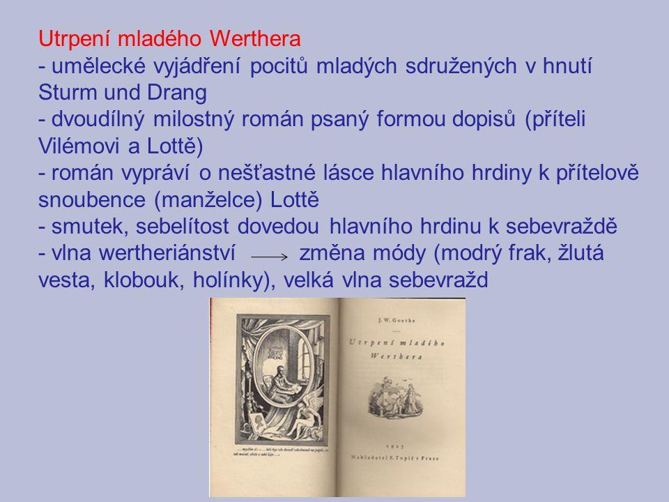 Utrpení mladého Werthera - umělecké vyjádření pocitů mladých sdružených v hnutí Sturm und Drang - dvoudílný milostný román psaný formou dopisů (přítel