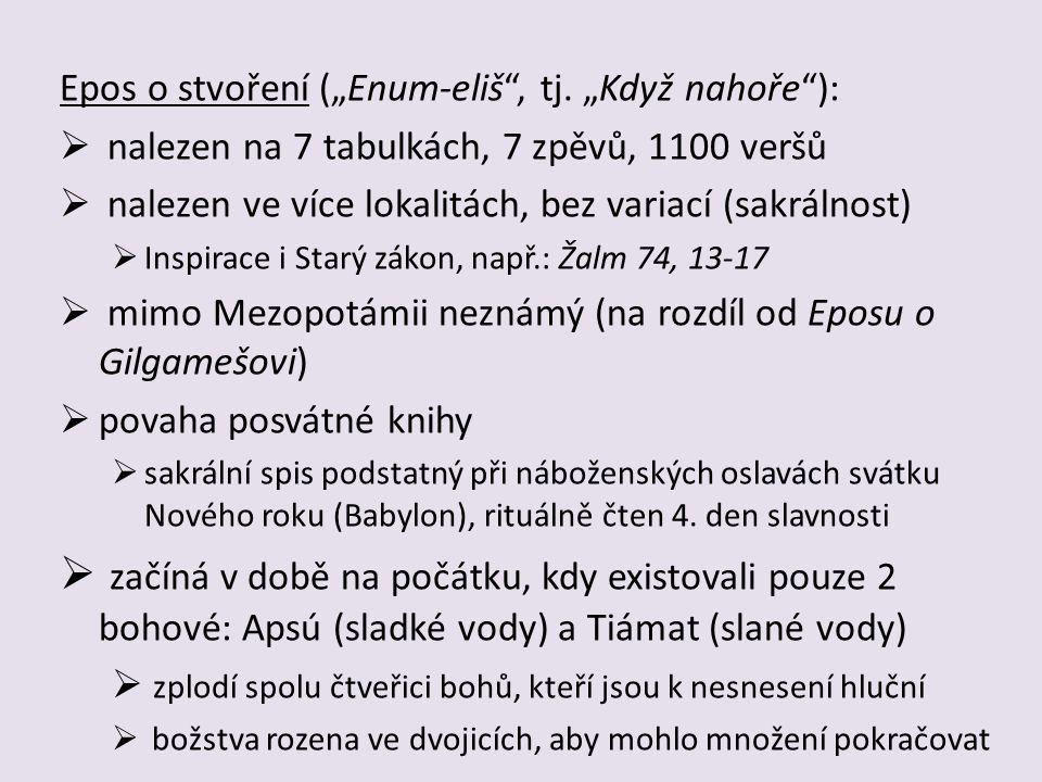 7 tabulek tvořících Epos o stvoření